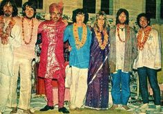 The Beatles and their friends at the Meditation Academy with Maharishi. Rishikesh, India, 1968.