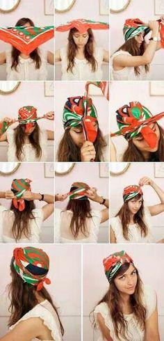 Como usar pañoletas en la cabeza para mujeres