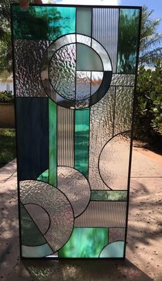 Stained Glass cabinet - Lovely Abstract Circles Viejo Stained Leaded Glass Panel Or Cabinet Insert. Modern Stained Glass, Stained Glass Designs, Stained Glass Panels, Stained Glass Projects, Stained Glass Patterns, Stained Glass Art, Mosaic Glass, Mosaic Mirrors, Mosaic Art