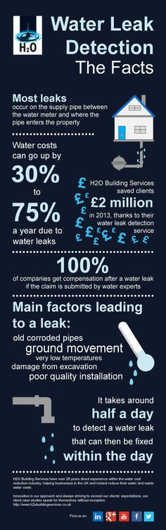 http://www.h2obuildingservices.co.uk/our-services/water-leak-detection/ Water Leak Detection - The Facts #infographic #waterleakdetection #water