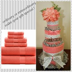 House warming gift, bath towel cake, unique and useful! Check out my Facebook page Simply Showers for more pics and orders.    https://m.facebook.com/adorablegifts