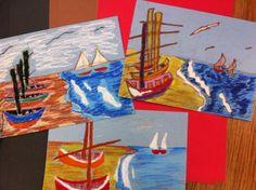 Van Gogh Fishing Boats with 6th Graders