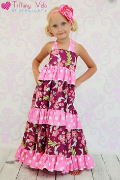 Julias Twirly Maxi Dress PDF Pattern sizes 6-12 months to 8 girls via Etsy
