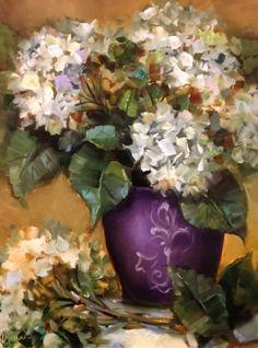 Purple Pot Hydrangeas by Texas Flower Artist Nancy Medina, painting by artist Nancy Medina