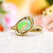 Rainbow Fire Australian Opal Ring