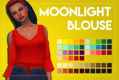 Moonlight Blouse This is pretty much the same as my starlight blouse, I just removed the peplum part of the shirt. Info• New mesh • BGC • 55 Swatches • Unisex • Feminine • All LODS & Bump Map TOUDownloadCredit: EA, palette & actions by...