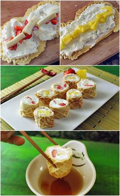 Waffle Breakfast Sushi Rolls  Ingredients  1 Cup Bisquick 2  Eggs 1/4 Cup sugar 8 Ounces whipped cream cheese Strawberries, banana, pineapple (and/or any other fruit of your choice) Maple syrup