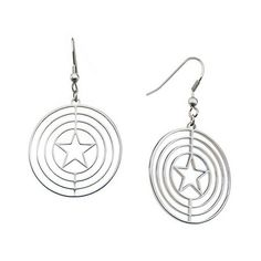 Women's Marvel Captain America Shield Logo Stainless Steel Dangle... ($24) ❤ liked on Polyvore featuring jewelry, earrings, stainless steel, stainless steel jewellery, stainless steel earrings, logo jewelry, earring jewelry and logo earrings