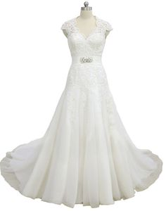 Faironly New White Ivory Organza Wedding Dress V Neck Bridal Gown Custom Size