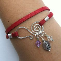 Red Genuine Deerskin Lace Leather Wrap Charm Bracelet - Silver Love Bead - Lilac & Clear Crystal Beads - Spiral Wire Closure -  Gift
