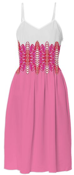 Pink White Belted Summer Dress by godwinsenterprises