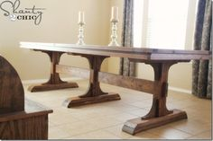 Triple Pedestal Farmhouse Table - Plans to make this beautiful dining room table Farmhouse Table With Bench, Diy Dining Table, Rustic Table, A Table, Picnic Tables, Farm Tables, Wood Tables, White Farmhouse, Farmhouse Chic