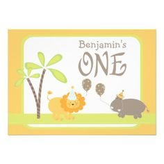 Jungle Lion and Hippo First Birthday Party Custom Invites