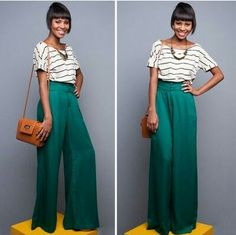 Go bold with bright palazzo pants, and tuck in a classic striped shirt for a really cute look that isn't trying too hard. Read more: http://www.gurl.com/2014/08/09/style-tips-on-how-to-wear-wide-palazzo-pants-outfit-ideas/#ixzz4UvCJoV1U