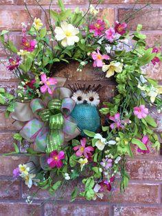 Spring Wreath Owl Wreath Summer Door WreathAll Season by Keleas, $59.99