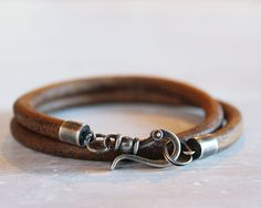 Mens Leather Bracelet with large sterling by ChickpeaDesignStudio