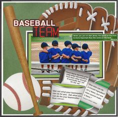 """teamies"" scrapbook layout - papers and embellies by reminisce... tami sanders,sports layout,sports scrapbook,baseball layout,baseball scrapbook"