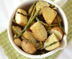 Lemon Garlic Roasted Asparagus and Potatoes
