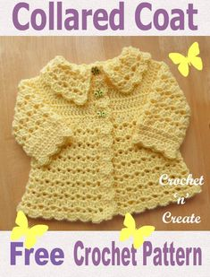 Free Baby Crochet Pattern Collared Coat UK - Adorable crochet coat pattern written in UK format.Made in a simple Shell and V stitch design .Free Baby Crochet Pattern Collard Coat - Beautiful V stitch and shell design coat with collar. Crochet Baby Sweater Pattern, Crochet Baby Jacket, Crochet Baby Blanket Beginner, Crochet Baby Sweaters, Baby Sweater Patterns, Crochet Coat, Baby Girl Crochet, Crochet Baby Clothes, Baby Patterns