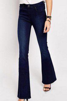 High-Waisted Deep Blue Flare Jeans