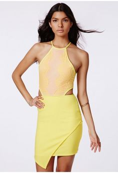 Zipita Cut Out Lace Asymmetric Mini Dress - Lace Dresses - Missguided