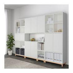 EKET Storage combination with legs - white/light gray/dark gray - IKEA Home Living Room, Living Room Furniture, Living Room Designs, Ikea Eket, Muebles Living, Ikea Storage, Ikea Living Room Storage, Yarn Storage, Home Furnishings