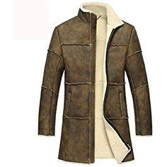 Cwmalls Men's Vintage Sheepskin Shearling Trench Coat