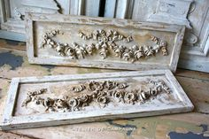 Ornate French Panels Louis XVI. These are original but you can find similar applique cavings for sale at www.buycarvings.com. Wild Goose Carvings sell all types of hand carved wooden onlays.