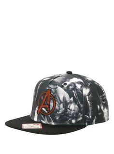 Marvel Avengers Black   White Snapback Hat  5be43828743