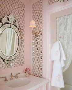 Pretty pink bathroom.
