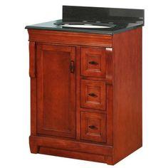 Foremost Naples 25 in. W x 22 in. D Vanity in Warm Cinnamon with Granite Vanity Top in Black-NACABK2522 - The Home Depot