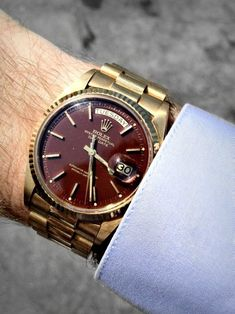Vintage yellow gold Rolex ref: 1803 with a faded 'oxblood' dial