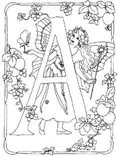 kleurplaat Alfabet feeen - Alfabet feëen A