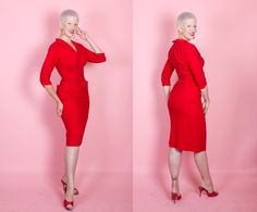RED HOT BOMBSHELL 1950s Designer Rich Red Wool by butchwaxvintage