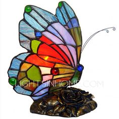 Vintage Stained Glass Small Tiffany Butterfly Lamp