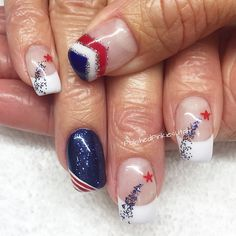 Polished Pinkies Utah: celebrate your patriotism in style with this fabulous patriotic nail design! Red, white, and blue at its finest! Sparkles, shooting stars, a French mani... Fab! Gel nails, gel polish mani, shellac, fourth of July, 4th of July, patriotic nails, summer nails, Memorial Day, Labor Day.