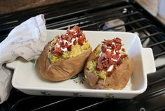 Broccoli Cheese Potatoes: Try these microwave-friendly baked potatoes topped with sour cream and bacon bits!