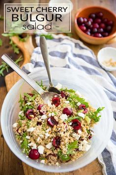 This refreshing Sweet Cherry Bulgur Salad is a delightful way to make make use of sweet cherries that's totally unique and delicious Easy Salads, Healthy Salads, Summer Salads, Healthy Recipes, Summer Food, Tabbouleh Recipe, Different Fruits, Grain Foods, Sweet Cherries