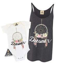 « DREAMER » MOMMY & ME // Women's Tank + Kid's Tee or Bodysuit. Matching mom and baby, boho baby fashion