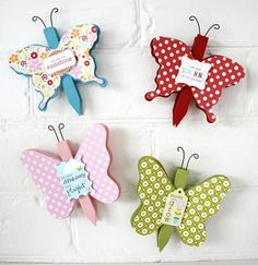 Butterfly clothes peg magnets