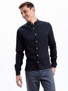 be1420109cb Zady Mens Button Down Navy Organic Long Staple Button Down