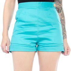 COLLECTIF AYANA SHORTS TEAL $53.00 #collectif #pinup #retro #rockabilly #shorts #highwaist
