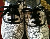 Black And White Flower Shoes