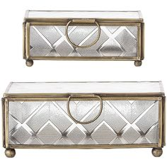 Bloomingville Rectangular Trinket Boxes - Clear Glass/Gold - Set of 2 (£35) ❤ liked on Polyvore featuring home, home decor, small item storage, clear, gold home accessories, gold trinket box, gold home decor, gold box and rectangle box