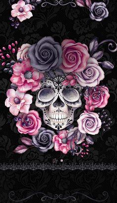 Launcher Theme, Wallpaper and Design Skull Wallpaper Iphone, Sugar Skull Wallpaper, Sugar Skull Artwork, Et Wallpaper, Cellphone Wallpaper, Galaxy Wallpaper, Wallpaper Backgrounds, Candy Skulls, Sugar Skulls
