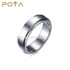POYA Jewelry 6mm Stainless Steel Plain Spinner Ring Engagement Wedding Band Ring