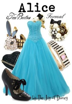 Prom Dresses 2018 Formal outfit inspired by Alice from the Tim Burton version of Alice in Wonderland! Disney Prom Dresses, Prom Outfits, Cute Outfits, Bal Disney, Pretty Dresses, Beautiful Dresses, Moda Disney, Robes Disney, Disney Inspired Fashion