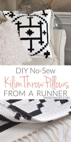 DIY Kilim Rug Throw Pillows, Make these easy no sew textured Boho Throw Pillows form a rug runner! kilim pillow covers, Make your own Kilim Rug Throw Pillow Covers from a Rug Diy Throws, Diy Throw Pillows, Sewing Pillows, How To Make Pillows, Boho Pillows, Decor Pillows, Burlap Pillows, Kilim Pillows, Decorative Pillows