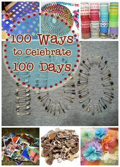 100 Ways to Celebrate 100 Days - Free ideas. 100 Day Of School Project, 100 Days Of School, School Holidays, School Projects, School Stuff, School Fun, Easy Projects, Holiday Themes, Holiday Activities