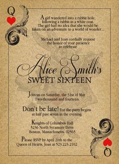 Alice in Wonderland Vintage Sweet Sixteen Birthday Invitation